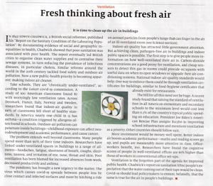 An Economist article talking about the importance of good indoor air quality