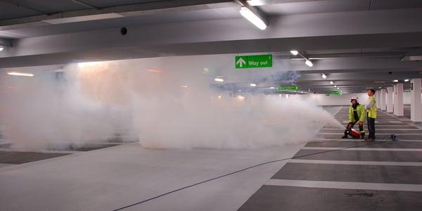 Smoke test in a car park